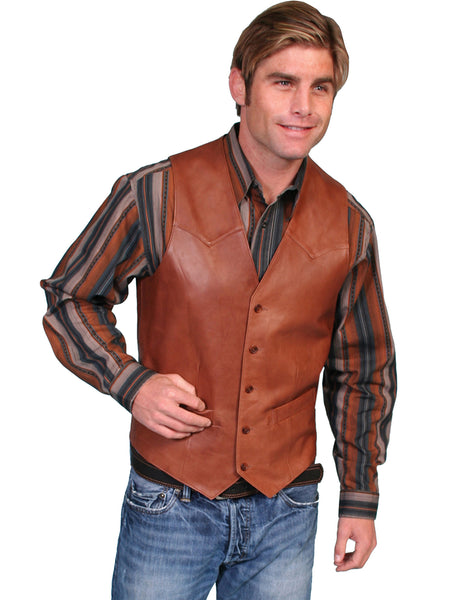 Scully Mens Western Vest Lamb w Button Front, Antique Brown Front View
