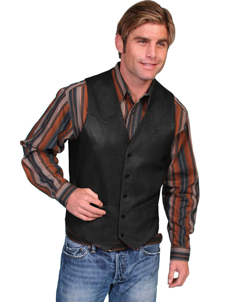 Scully Men's Western Vest w Button Front Black Front View