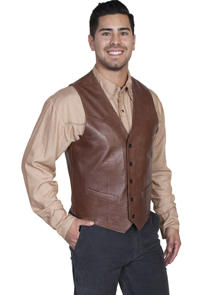 Men's Leather Vest Collection: Scully Western Lambskin, Buttons, Chocolate