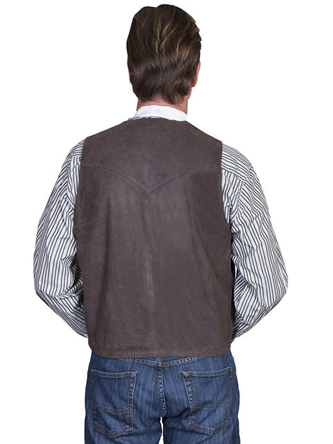 Scully Mens Western Vest Lamb w 5 Button Front, Brown Back View