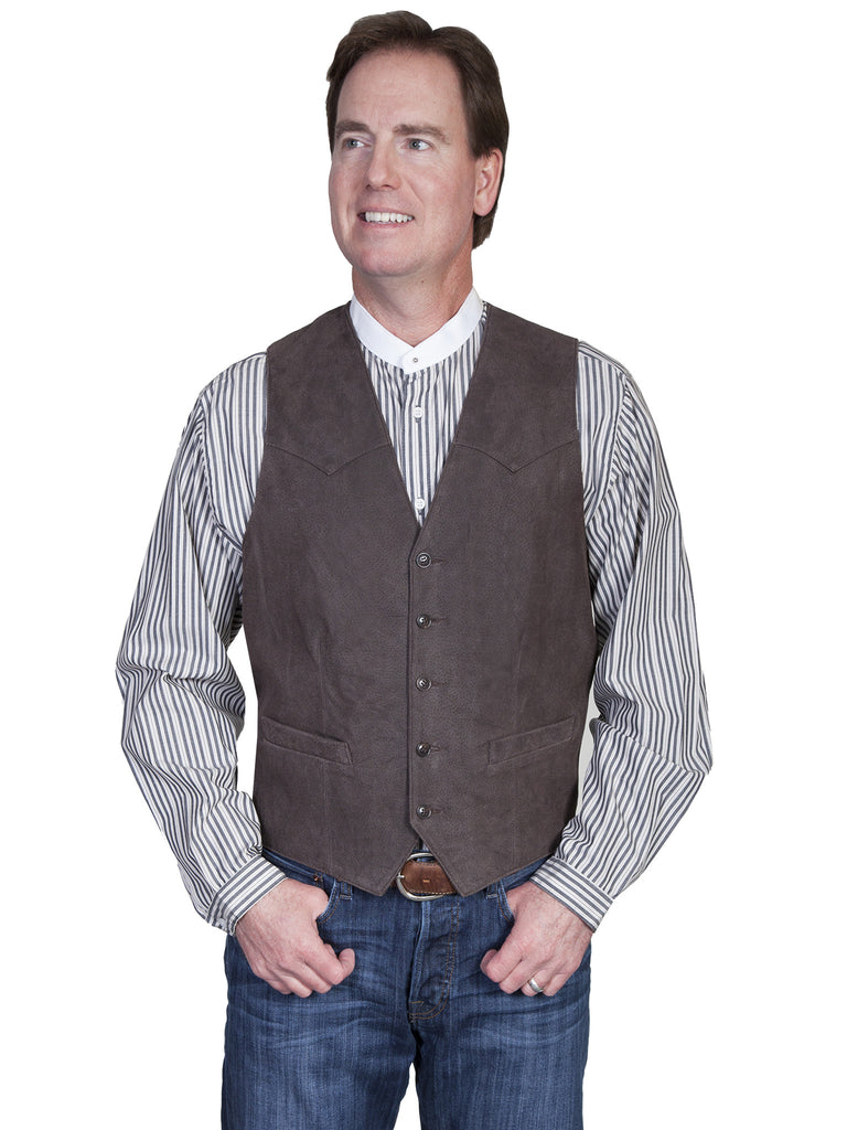 Scully Mens Western Vest Lamb w 5 Button Front, Brown Front View