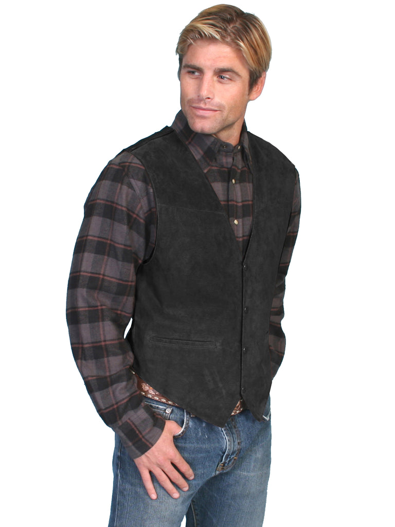 Scully Men's Western Vest Boar Suede, Satin Back, Snaps, Black Front View
