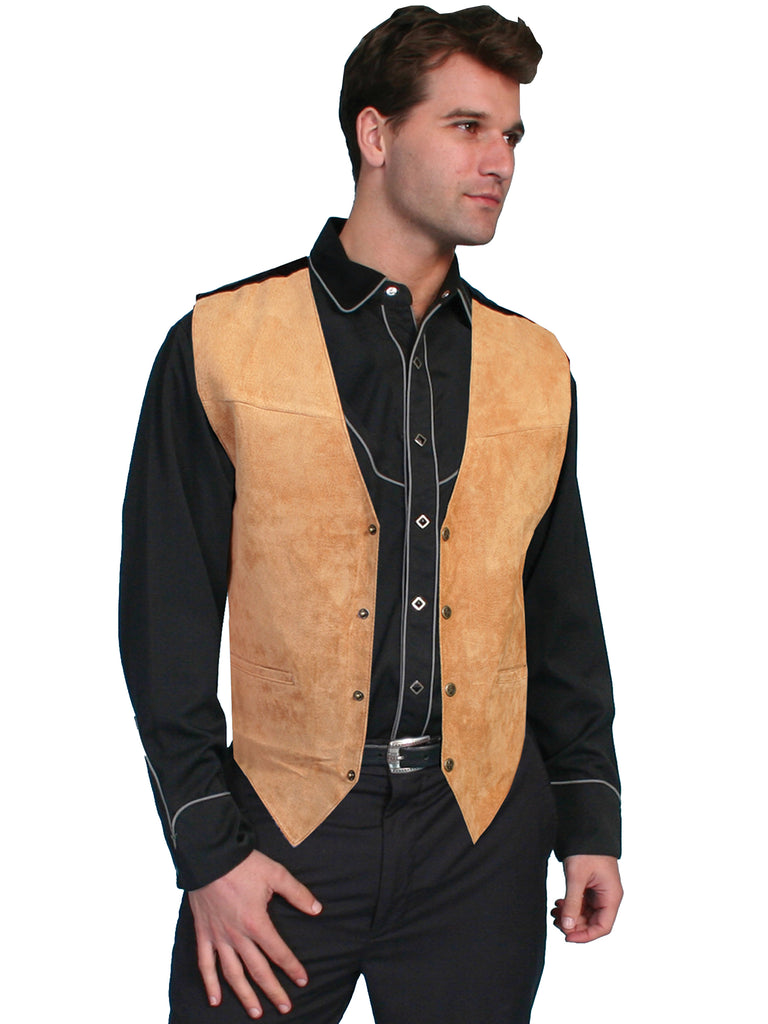 Scully Men's Western Vest Boar Suede, Satin Back, Snaps, Bourbon Front View