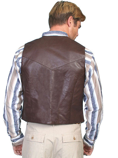 Scully Mens Western Vest Brown Soft Touch Lamb, Snaps, Back View