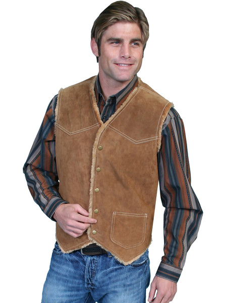 Scully Men's Old West Suede Hunting Vest with Faux Fur Shearling Lining Tobacco Front
