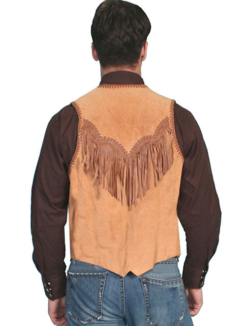Scully Men's Western Hand Laced Bead and Fringe Trim, Suede, Bourbon Tan Back