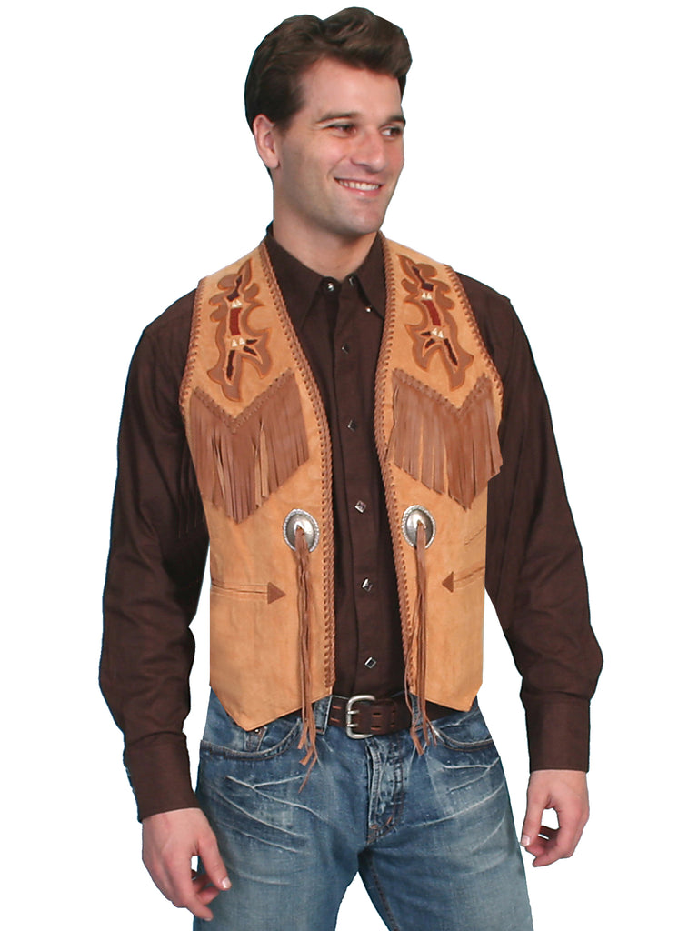 Scully Men's Western Hand Laced Bead and Fringe Trim, Suede, Bourbon Tan Front