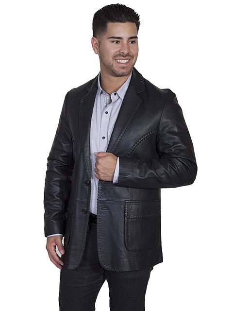 Scully Men's Lamb Leather Whipstitch Blazer Black Side View