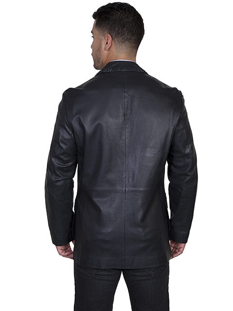 Scully Men's Lamb Leather Whipstitch Blazer Black Back View