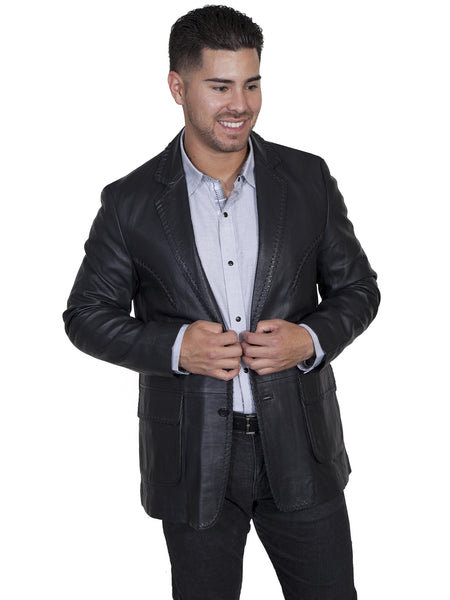 Scully Men's Lamb Leather Whipstitch Blazer Black Front View