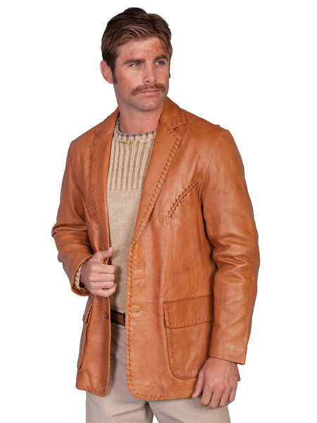 Scully Men's soft touch lamb whip stitch blazer, ranch tan, front vie