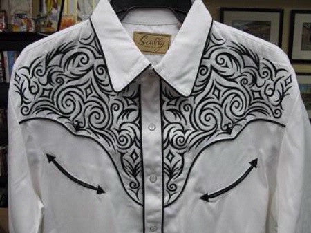 Vintage Inspired Western Shirt Mens Scully Scroll Black on White S-4XL