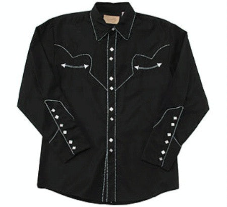 Vintage Inspired Western Shirt Mens Scully Black White Front S-4XL