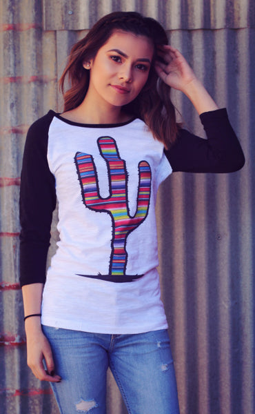 Original Cowgirl Clothing Baseball T-Shirt Serape Cactus White Body with Black Sleeves