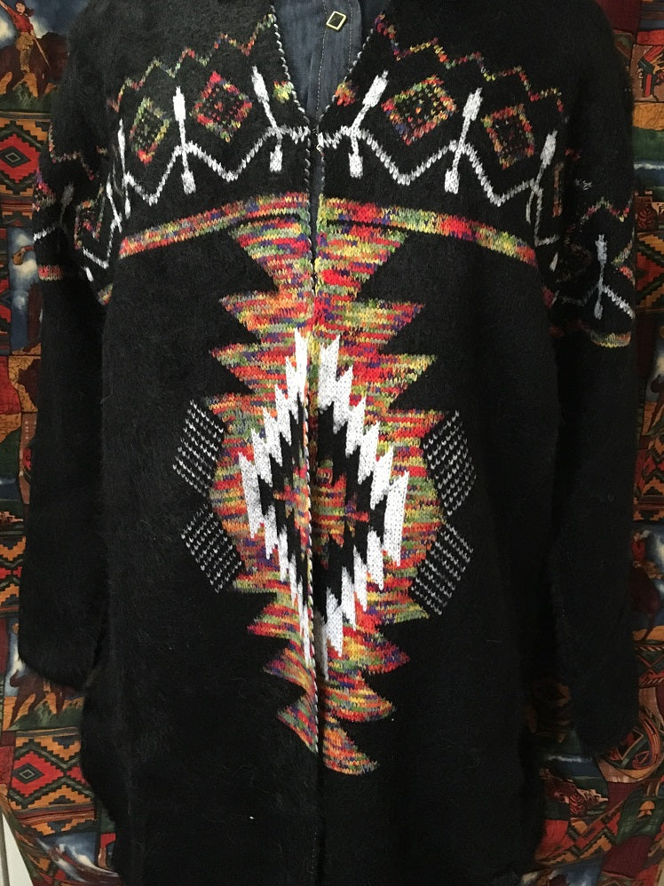 Ladies' Venario Cardigan Sweater: Shanaya Western Pattern on Black Front