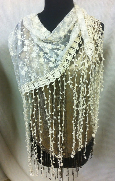 Designs by Pat Dahnke Long Fringe Lace Shawl Ivory