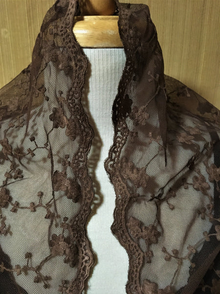 Designs by Pat Dahnke Long Fringe Lace Shawl Cinnamon Front