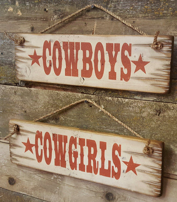 Western Wall Sign Business: Cowboys Cowgirls Set Right Side