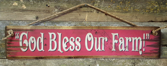 Western Wall Sign Faith: God Bless Our Farm Red