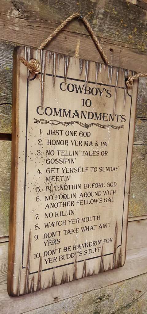 Western Wall Sign Faith: Cowboy Ten Commandments Natural Left Side