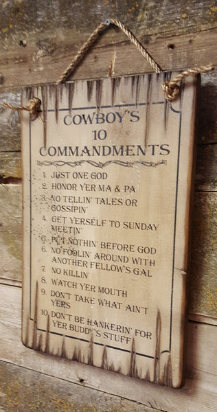 Western Wall Sign Faith: Cowboy Ten Commandments Natural