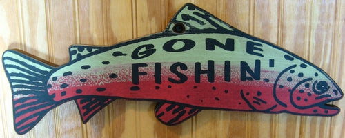 Western Wall Sign Home: Gone Fishing