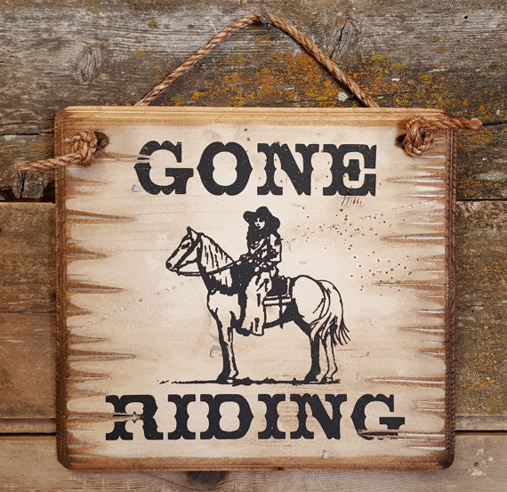 Western Wall Sign Barn: Horses Gone Riding