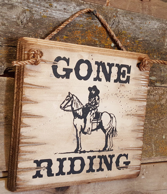 Western Wall Sign Barn: Horses Gone Riding Left Side