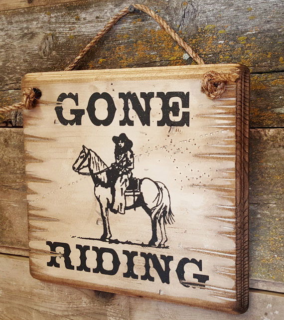 Western Wall Sign Barn: Horses Gone Riding Right Side