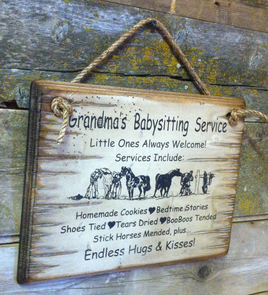 Western Wall Sign: Grandma's Baby Sitting Service
