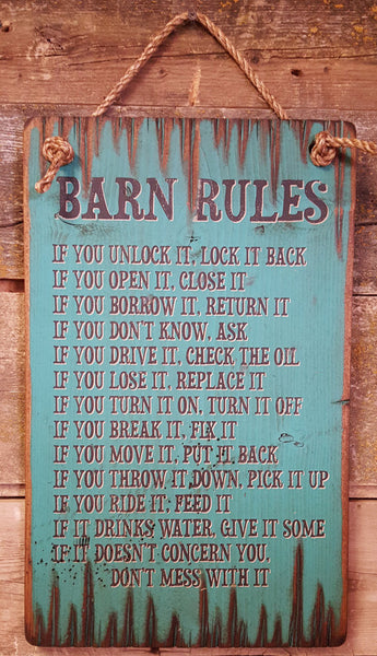 Western Wall Sign: Barn Rules
