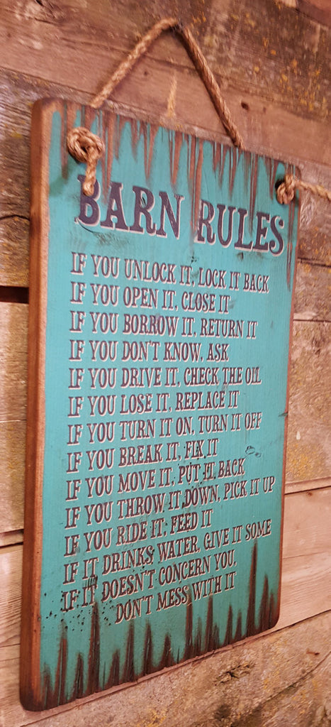 Western Wall Sign: Barn Rules Left Side