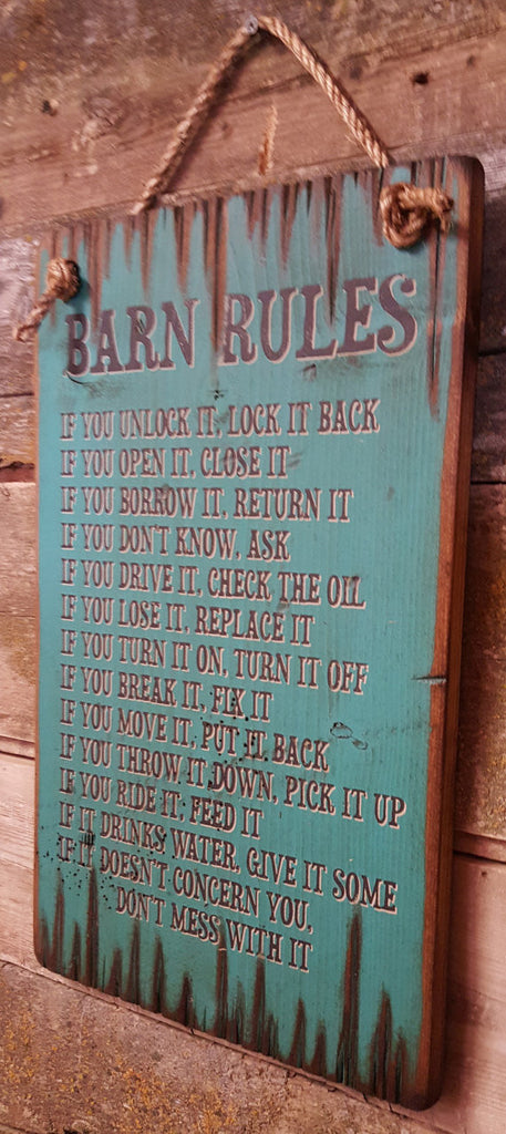 Western Wall Sign: Barn Rules Right Side