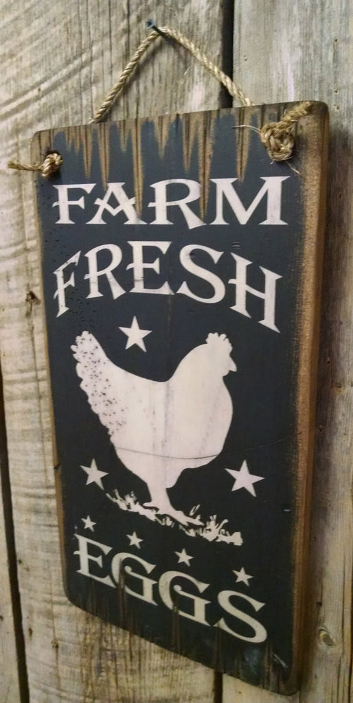 Western Wall Sign Barn: Farm Fresh Eggs Right Side