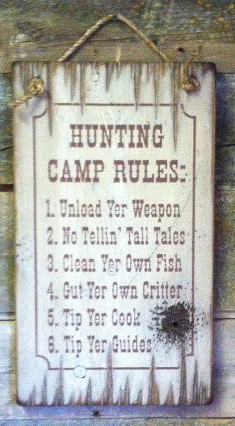 Western Wall Sign Home: Hunting Camp Rules