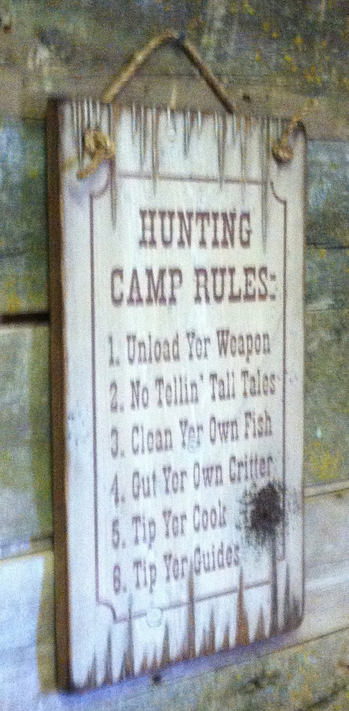 Western Wall Sign Home: Hunting Camp Rules Left View