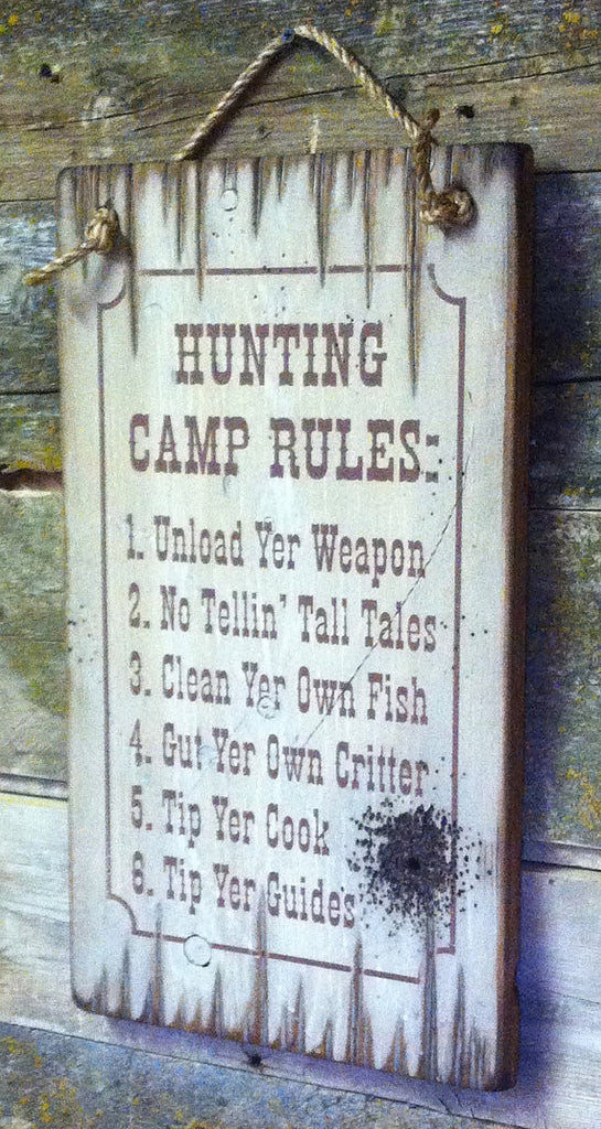 Western Wall Sign Home: Hunting Camp Rules Right View