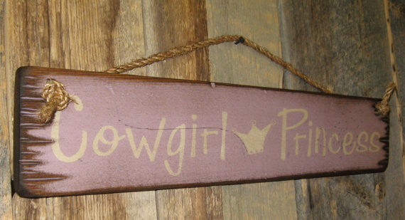 Western Wall Sign Home: Kids Cowgirl Princess Left View