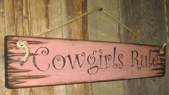 Western Wall Sign Home: Cowgirls Rule