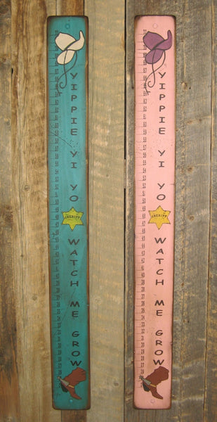 Western Wall Sign Home: Kids Measuring Stick Turquoise, Pink