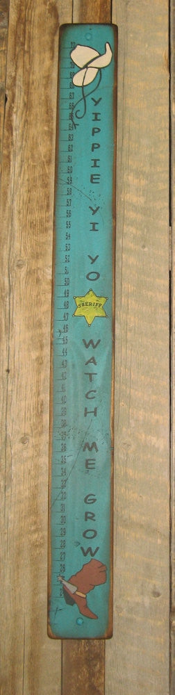 Western Wall Sign Home: Kids Measuring Stick Turquoise