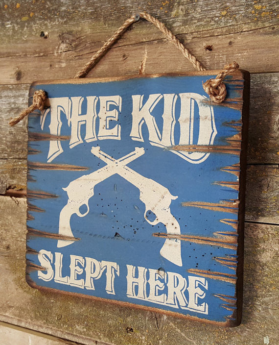 Western Wall Sign Home: Kids The Kid Slept Here Right View