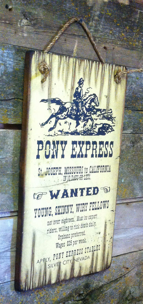 Western Wall Sign Vintage: Pony Express Riders Wanted Left View