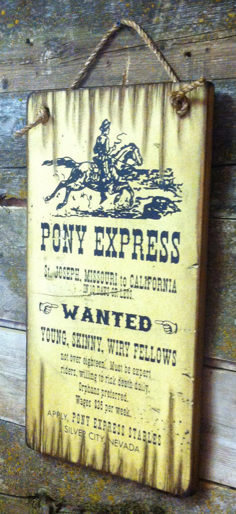 Western Wall Sign Vintage: Pony Express Riders Wanted Right View