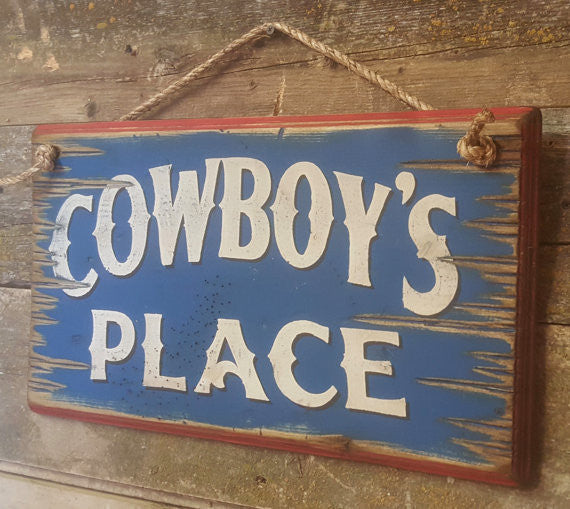 Western Wall Sign Home: Cowboy's Place Small Right View