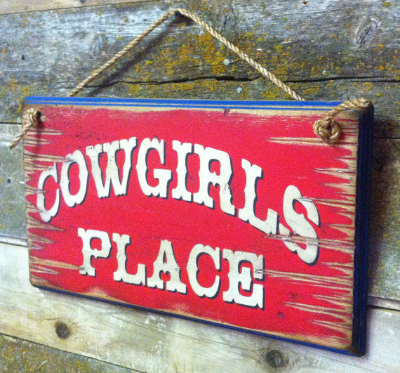 Western Wall Sign Home: Cowgirl's Place Right View