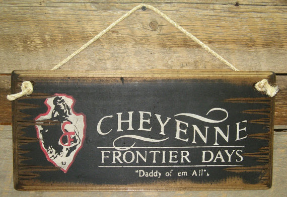 Western Wall Sign Rodeo: Cheyenne Frontier Days Black