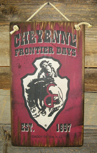 Western Wall Sign Rodeo: Cheyenne Frontier Days Burgundy