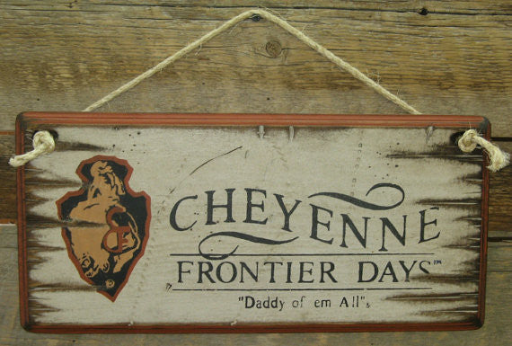 Western Wall Sign Rodeo: Cheyenne Frontier Days White