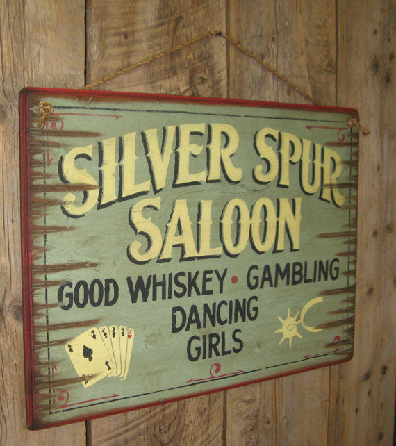 Western Wall Sign: Silver Spur Saloon Left View